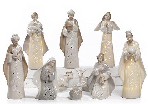 Paben Noel Crèche en porcelaine avec LED 10 sujets hauteur maximale 25 cm
