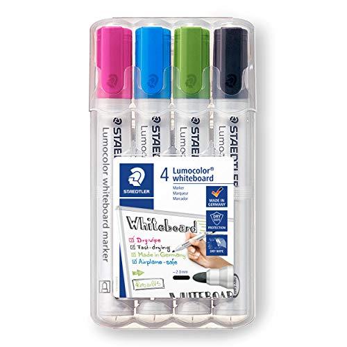 STAEDTLER 351 WP4-1 Lumocolor Whiteboard Marker. Estuche exclusivo STAEDTLER box con 4 marcadores para pizarra blanca, colores surtidos