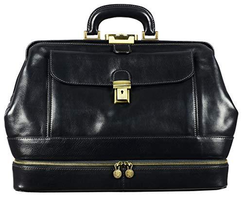 Leather Medical Doctor Bag Vintage Style Medium Satchel Black - Time Resistance