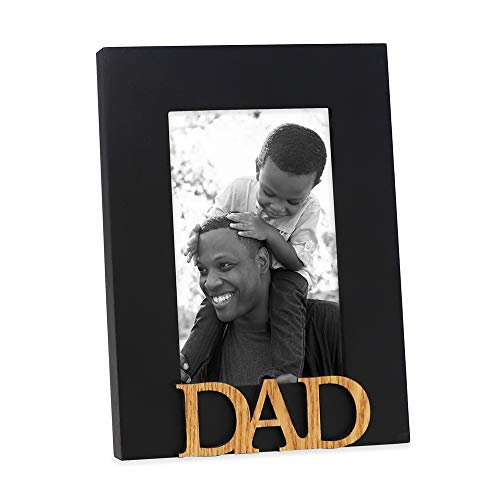 Isaac Jacobs Black Wood Sentiments Dad Picture Frame, 4x6 inch, Photo Gift for Father, Family, Display on Tabletop, Desk (Black, 4x6)