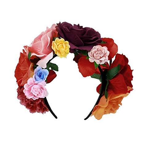 Merroyal Women's Dia de los Muertos Rose Flower Costume Headpiece Halloween Day of The Dead Veil (Orange Burgundy Pink Red Rose Flower)