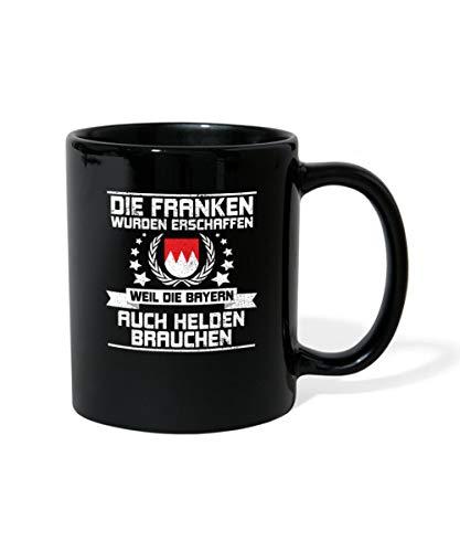 Spreadshirt Witziger Spruch Franken Helden Bayrisch Mit Wappen Tasse einfarbig, Schwarz