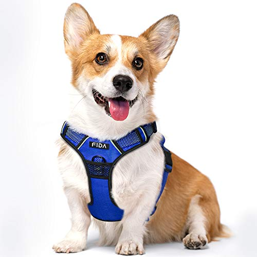Fida Dog Harness Full Reflective Design, No-Pull Pet Vest Harness with 2 Leash Clips, Adjustable Soft Padded with Easy Control Handle for Medium Dogs(M, Blue)
