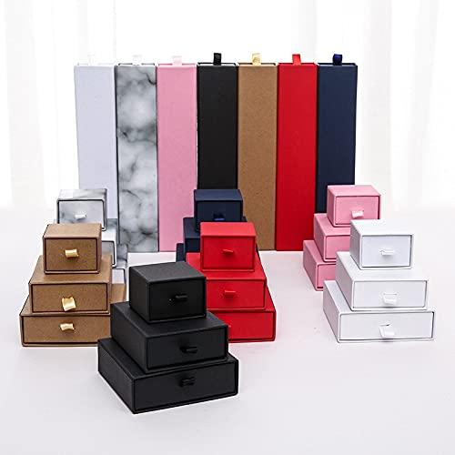 Cartucho del cajón de la joyería para el anillo Elegante cadena Accesorios de la pulsera del embalaje Show Kraft caja de regalo Joyas-blanco, 7x9x3cm
