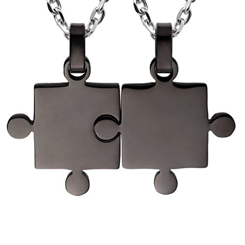 """URBAN JEWELRY His & Hers Puzzle Matching Piece Couples Pendant Necklace Set with 19"""" & 21"""" Chain (Black Toned)"""