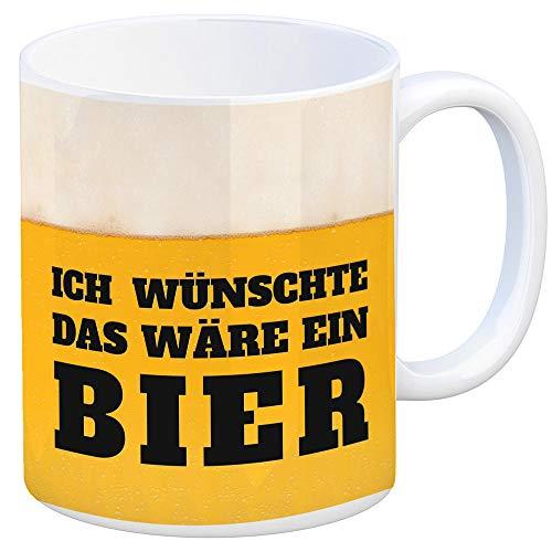trendaffe - Kaffeebecher mit Bier Motiv und Spruch: Ich wünschte Das wäre EIN Bier