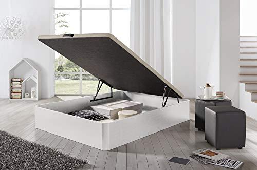 ECCOX - Canapé de Madera Abatible 90 x 190 Gran Capacidad de Almacenaje, Base Tapizada 3D - Color Blanco - Montaje Incluido
