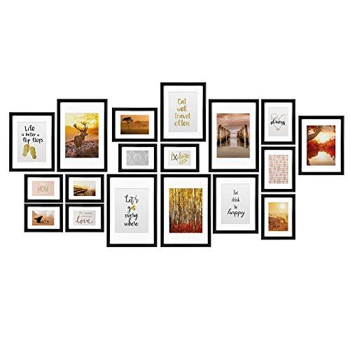 bomoe Passion Set van 18 Fotolijsten Houten Picture Frames - 6x 10,5x15cm / 4x 13x18cm / 4x 18x24cm / 4x 20x30cm – kunststof glas Fotolijst van Hout - Metalen Ophanging - Standaard & Passepartout - Zwart
