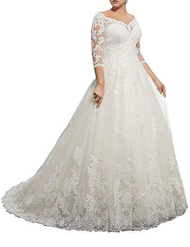 SongSurpriseMall Brautkleider Damen Elegante V-Ausschnitt 3/4 Ärmel Hochzeitskleider Große Größen Prinzessin Spitze Tüll Brautkleid mit Schleppe Weiß 44