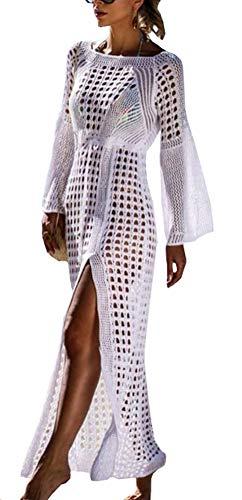 FSMO Damen Langarm Strandkleid Gestrickte Schlitz Bikini Cover Up Strandponcho Sommer Lange Kaftan Maxikleid (Einheitsgröße, Weiß)