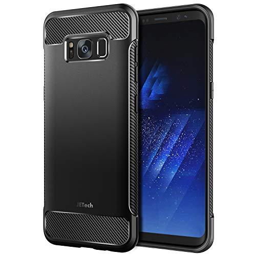 JETech Hülle Kompatibel mit Samsung Galaxy S8+ Plus, Handyhülle Case Cover Schutzhülle mit Stoßdämpfung und Kohlefaser, Schwarz