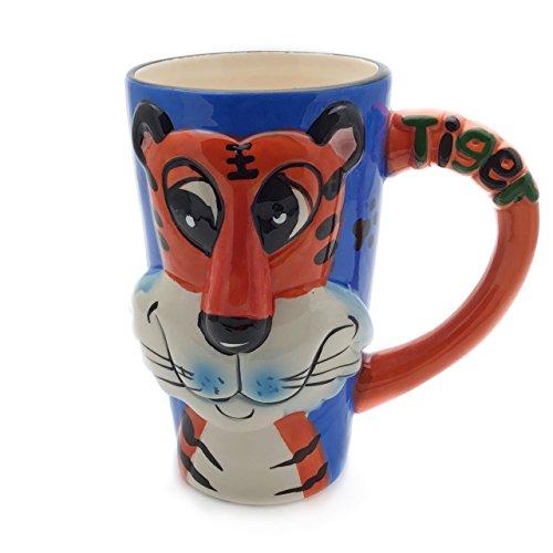 Unbekannt Tasse groß, blau, lustig mit Tier Motiv in 3D Tiger | 450ml (500ml randvoll) | Kaffeetasse/Teetasse aus Keramik (Porzellan) Idee