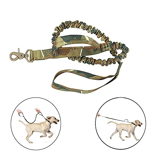DYJKOUG Tactical Dog Collar and Bungee Leash, Camo Military Dog Collar & Leash Set with USA American Flag Patch, K9 Nylon Adjustable Collar with Handle & Metal Buckle for Training Medium Large Dogs