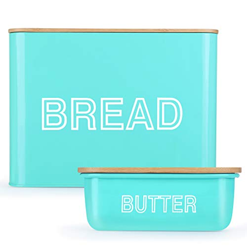 VCHAMP Extra Large Bread Box - Farmhouse Bread Box for Kitchen Countertop with Bamboo Cutting Board Lid & Butter Dish Set - Turquoise Bread Storage Containers for Homemade Bread to Stay Fresh Longer
