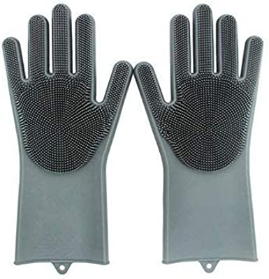 DHARM ENTERPRISE Dishwashing Gloves with Wash Scrubber and Magic Silicone Gloves and Heat Resistant and Reusable Cleaning Gloves for Kitchen, Car, Bathroom and Pet (Free Size) -1 Pair
