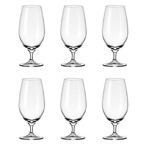 Leonardo Cheers Bier-Glas, Bier-Tulpe mit gezogenem Stiel, spülmaschinenfeste Bier-Gläser, 6er Set, 450 ml, 061637