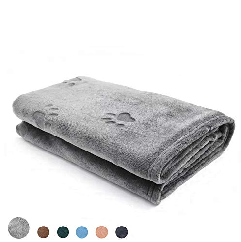 """YINXUE 2 Pack Soft Pet Flannel Blanket with Cute 3D Paw Design, 30"""" x 40"""" Warm Dog Cat Sleep Mat Bed Cover (Grey)"""
