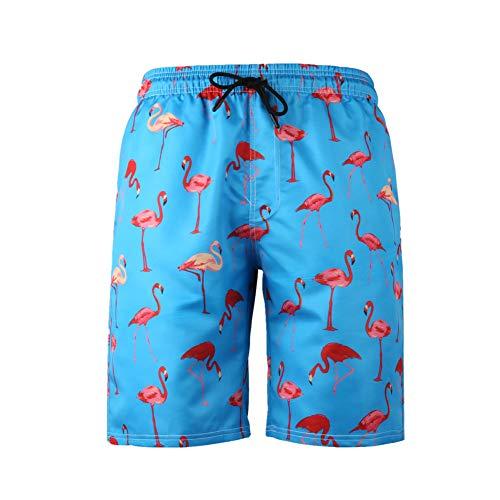 Chickwin 3D Gedruckte Strandhose, Gerade Graffiti Casual Badeshort Freizeit Kurze Herren Lustige Shorts Badehose Sommer Lässig Plus Größe in Vielen Farben (3XL,Blauer Flamingo)