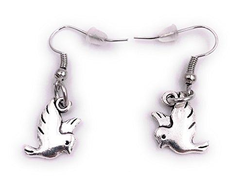 H-Customs Vogel Piepmatz Wellensittich Ohrringe Ohrschmuck Anhänger Silber aus Metall