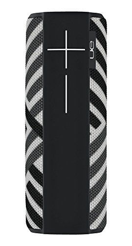 Ultimate Ears Megaboom Tragbarer Bluetooth-Lautsprecher, Satter Tiefer Bass, Wasserdicht, App-Navigation, Kann mit weiteren Lautsprechern verbunden werden, 20-Stunden Akkulaufzeit - zebra/schwarz-weiß