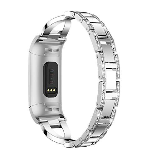 hemobllo metal bandas compatible para Fitbit Charge 3acero inoxidable cristal cadena Sport Band ajustable Cruz Pulsera para mujer hombre (Plata)