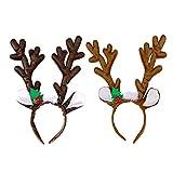B•You Reno Cornamenta Diadema,Aro de Pelo de Cornamenta de Reno 2 Piezas Peluche Juguete con Campanas y Orejas para Niños Adultos Fiesta de Disfraces de Navidad Cumpleaños