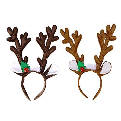 byou Rentier Geweih,Geweihe Stirnband 2 stücke Niedlich Rentier Haarreif mit Glocken und Ohren für Erwachsene Kinder zum Halloween Weihnachten Ostern Party Dekoration