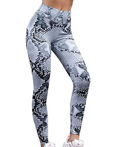 Yoga Leggings Damen, Teenager Mädchen High Waist Bunte Strumpfhose Schlange 3D Druck Yoga Hosen Push Up Leggins Hoher Sportleggins Jogginghose Training Laufende Fitness Sport Pants (Weiß, M)