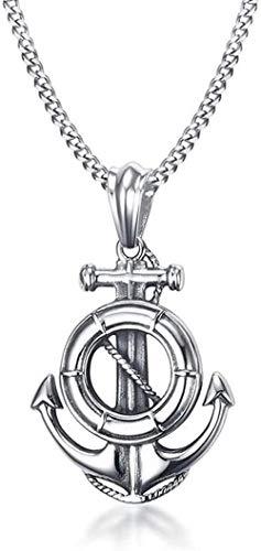 NC110 Collar con Colgante de 49 cm de Acero Inoxidable con Joyas de Ancla para Hombre y Mujer YUAHJIGE