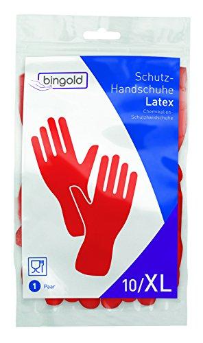 BINGOLD - Guantes protectores de látex, 1 par, tallas S, M, L o XL (colores: azul, amarillo, rojo), XL, rojo, 1