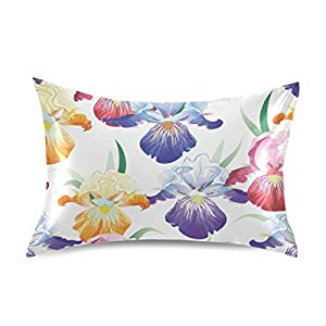 Nander Purple Iris Flower Satin Pillowcase for Hair and Skin Cool Soft Silk Pillow Cases No Zipper, 1 PCS Pillow Cover with Envelope Closure – 20×26 inch