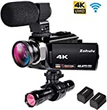 4K Video Camera Zohulu Camcorder, WiFi Vlogging Camera for YouTube with Microphone, 60FPS 48MP Ultra...