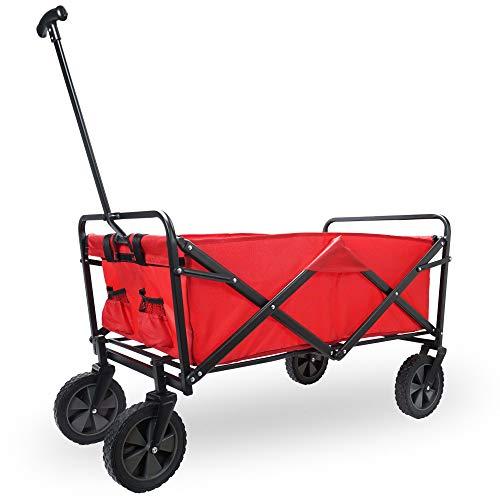 Cepewa Bollerwagen faltbar Bully Handwagen aus Metall 70Kg Tragkraft 360° Räder robuster Leiterwagen für Kinder Gartenkarre (rot)