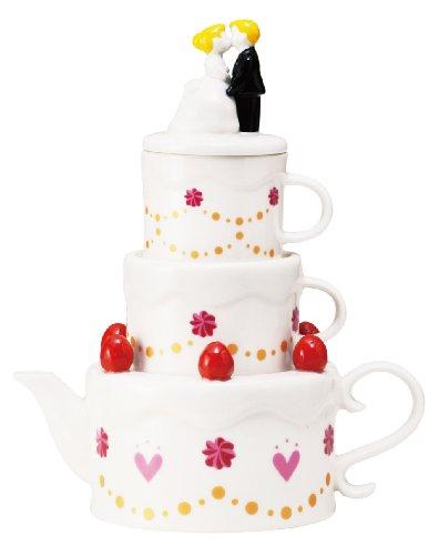 サンアート かわいい食器 「 ハッピーウェディング 」 ケーキ型 ティーポット&カップ(2人用ティーセット)  SAN2004