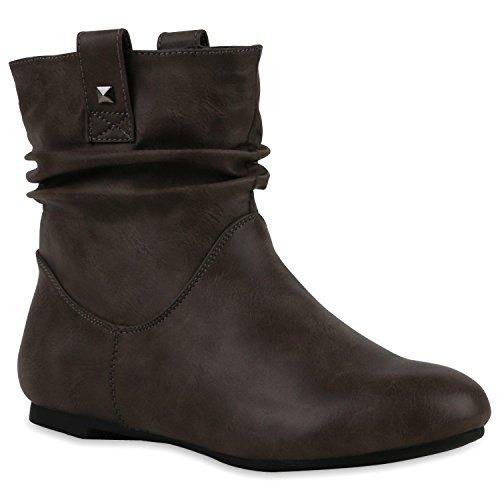 Stiefeletten Damen Schlupfstiefel Schnallen Stiefel Flach Boots Nieten Leder-Optik Schlupfstiefeletten Schuhe 120942 Grau 37 Flandell