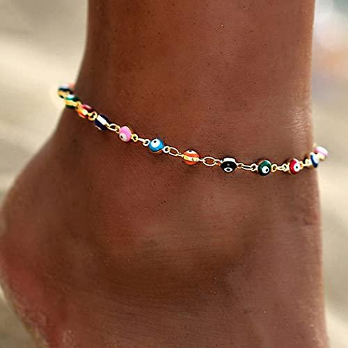 Mayelia Boho Evil Eyes Cavigliera oro Perle d'oro Bracciale alla caviglia Catene per piedi per donne e ragazze
