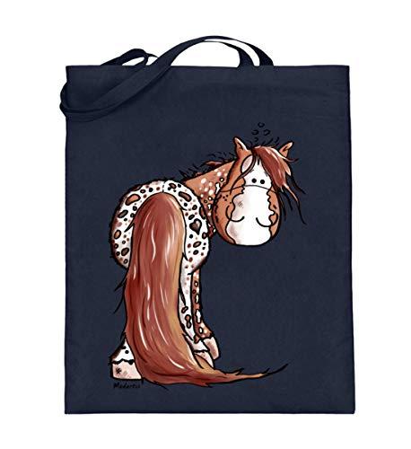 Shirtee lustiges Appaloosa Pferd Comic Cartoon - Jutebeutel (mit langen Henkeln) -38cm-42cm-Deep Blue