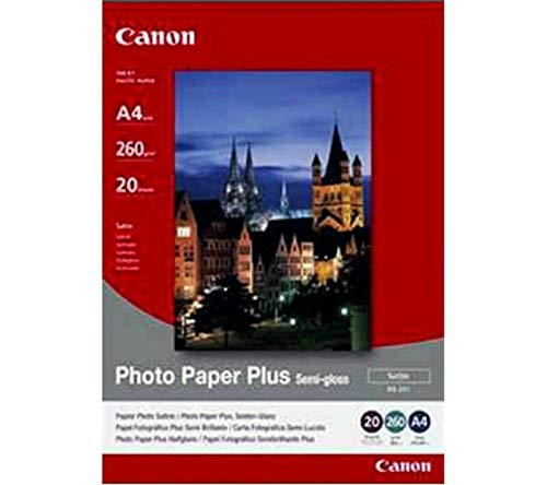 Canon SG-201 - Papel para impresora de inyección (A4, 260 g/m2, 20 hojas), color blanco satinado