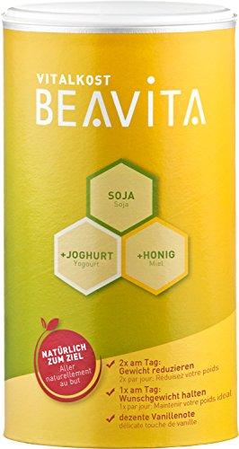 BEAVITA Vitalkost - 500g Vanille Pulver - Diät Shake für unbeschwertes Abnehmen - reicht für 10 Drinks - Kalorien sparen & Gewicht reduzieren - vitaminreicher Mahlzeitersatz inkl. Diätplan Anleitung