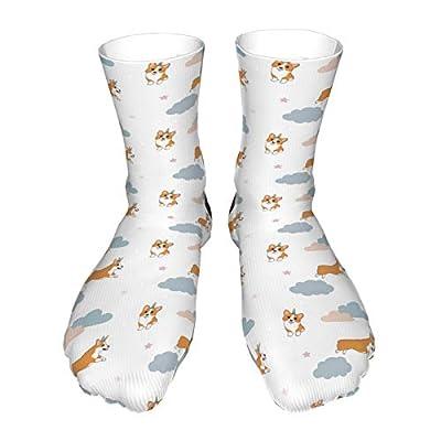 Calcetines divertidos con diseño de corgi con cuerno de unicornio, calcetines coloridos de algodón