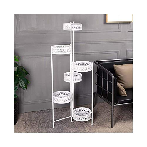 Flower stand6-Tier Folding Scroll Plant Stand Flower Pot Holder Display Rack Shelf Modern Indoor & Outdoor Home Decor (Color : White)
