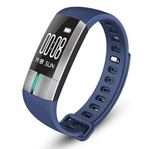 Novopus: Smart Armband Sport Step Fitness Tracker Blutdruck Pulsmesser IP7 Wasserdicht Smart Watch Farbdisplay für Android IOS, Blau