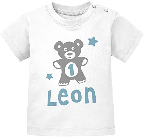 SpecialMe® personalisiertes Baby T-Shirt mit Namen und Zahl Geburtstagsshirt Teddy-Bär Geschenk 1. und 2. Geburtstag Junge/Mädchen Jungen 1 Jahr weiß 80/86 (10-15 Monate)