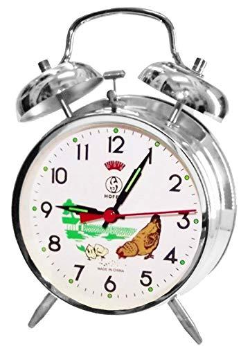 Sveglia classica, meccanica, color argento, con gallina che becca il mangime