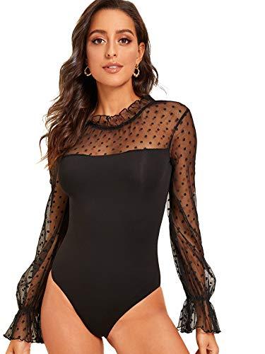 DIDK Damen Netz Bodysuit Stehkragen Langarm Body mit Rüschen Elegant Bodys Shirts Langarm Top Schwarz M