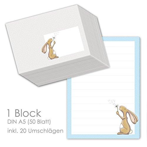 """Schreibblock/Briefblock""""HASE HAMLET"""" DIN A5 (liniert 50 Blatt) inklusive 20 passenden Umschlägen/Briefpapier für Kinder/Briefpapier Set Kinder"""
