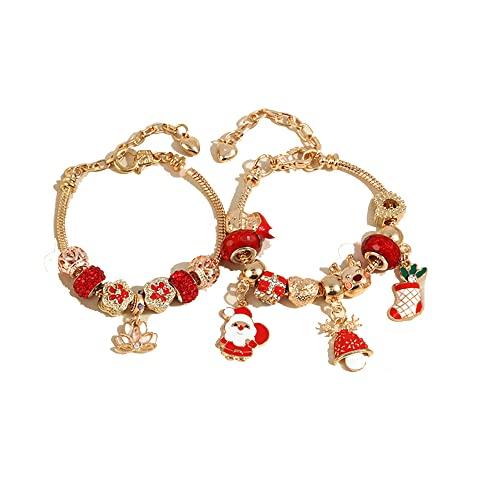 Braccialetto per albero di Natale con Babbo Natale, in lega, per creare gioielli e collane, orecchini, fai da te, kit fai da te, kit per bambini e adulti