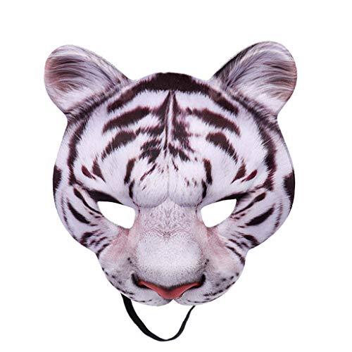 Oyedens Halloween Maske Latex Weiße Tigermaske des Halben Gesichtstiertigers Unisex BöSewicht Kostüm Partyball Halloween Mardi Gras Halbes Gesicht Tier Maske