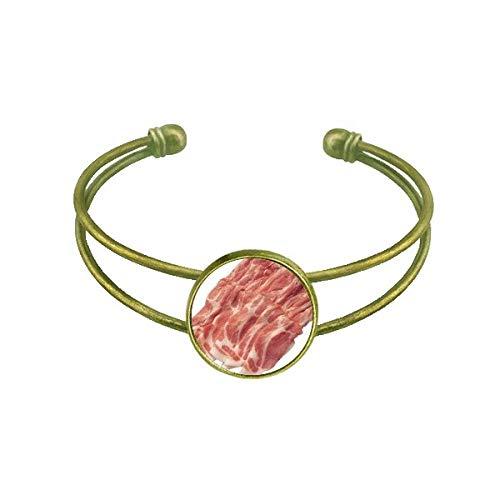 Bracelete retrô com textura de carne crua e carne crua com punho aberto