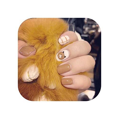 24 pcs Brun Café Bureau presse sur les ongles court Couverture Complète Ours Décoration Patch faux ongles Accessoire Utilisation Quotidienne avec de la Colle-Beige-